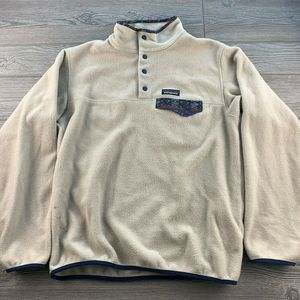 PATAGONIA WHITE T FLEECE SNAP T PULLOVER  Unisex M